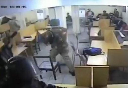 Police in Jamia Library, attacking students