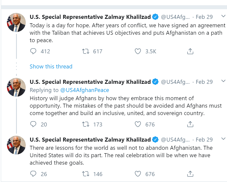 US Representative comment on Peace Deal