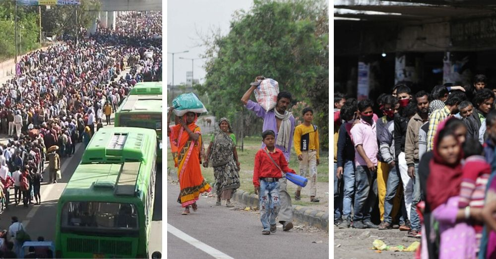 Migrant workers in different parts of the country forced to return to their homes on foot