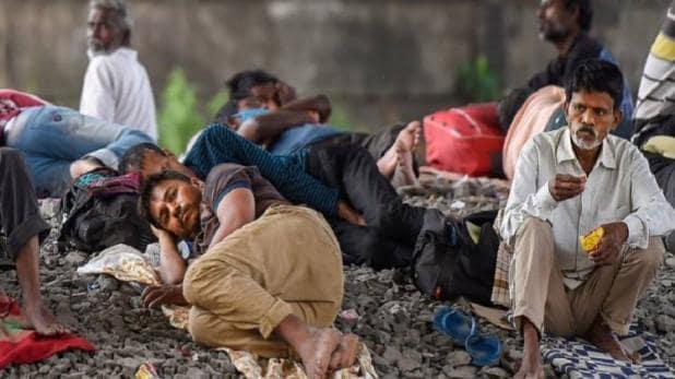 Migrants on rail tracks