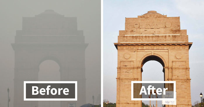India Gate before and after lockdown.