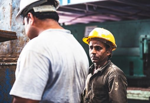 a migrant labourer at a construction site