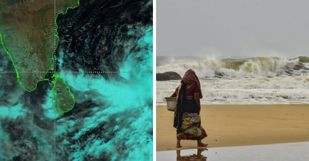 View of Amphan from Satellite, and view of cyclone hitting the shore.