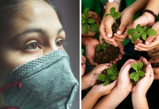 girl in a mask during lockdown and children holding saplings plants