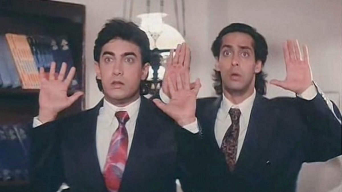 A still from Andaz Apna Apna.