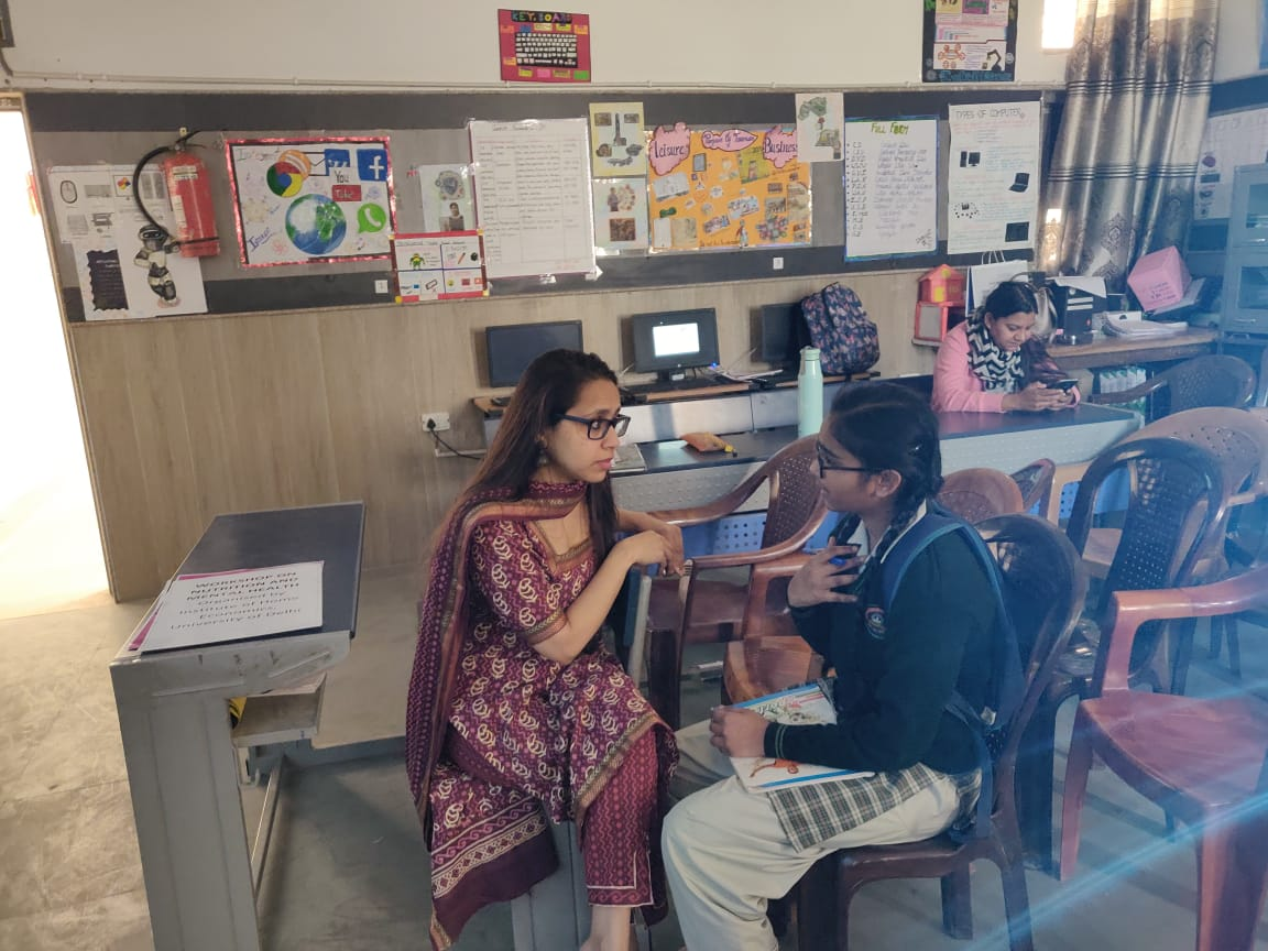 Interaction of the author with government school girl about periods