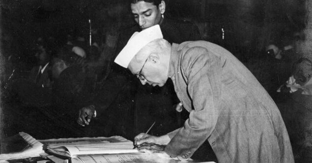 jawaharlal nehru signing the indian constitution
