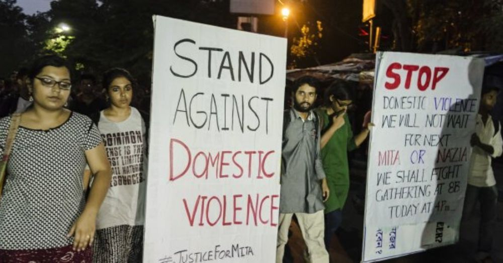 Jadavpur University students protesting against domestic violence