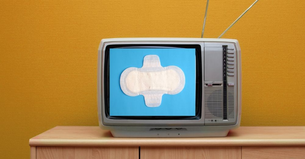 Television with a sanitary pad ad