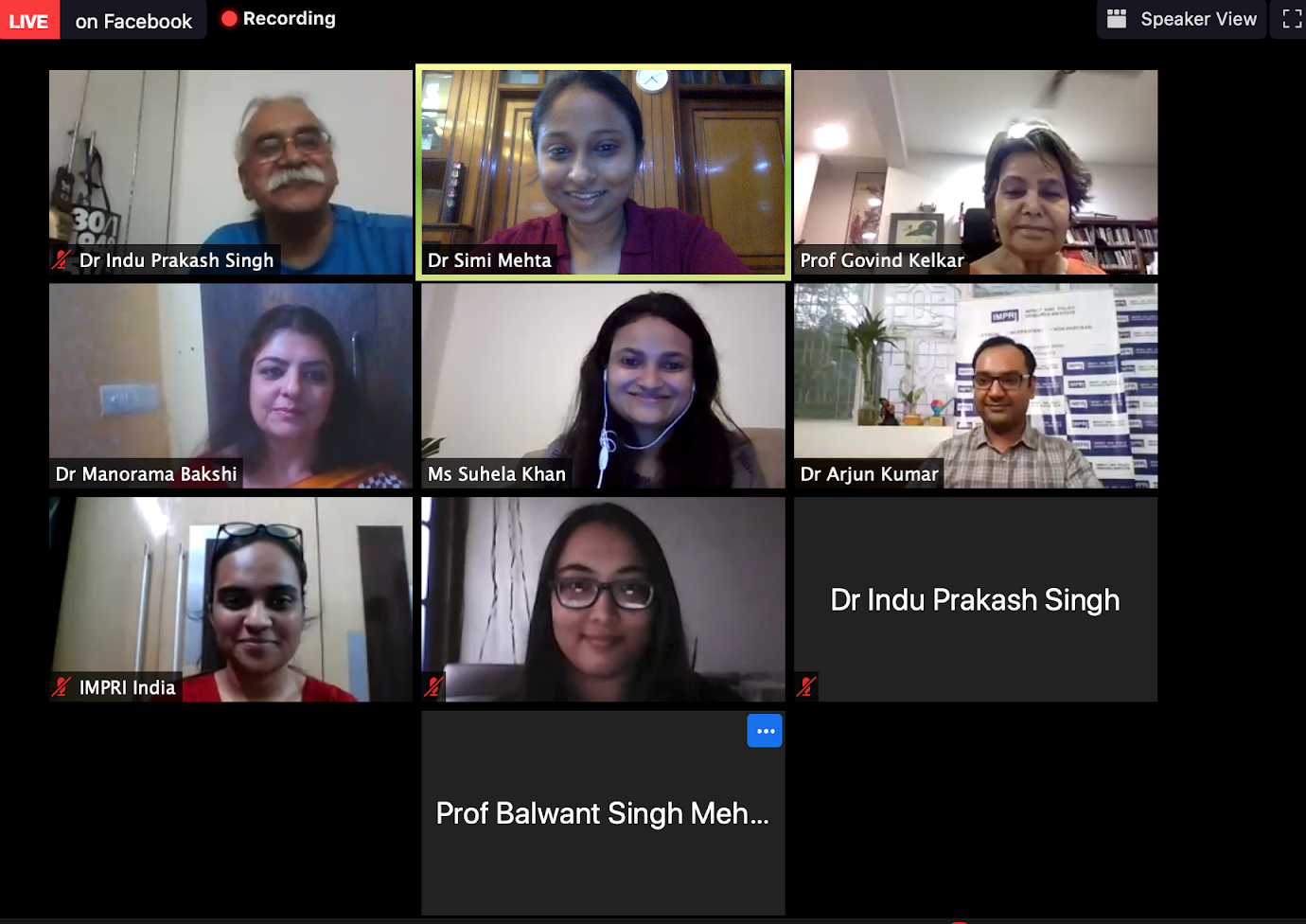 A screenshot of the panellists during the Web Policy Talk on Gender Based Violence in the context of the COVID-19 Pandemic and Lockdown
