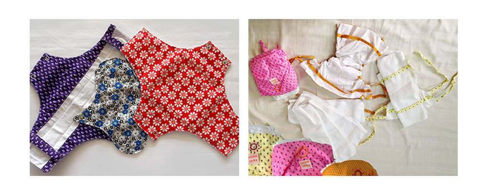 Reusable cloth pads designed by Lakshmi Murthy