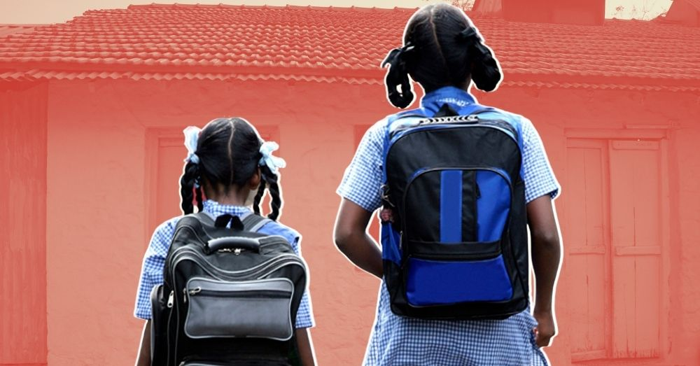 Two school girls in India