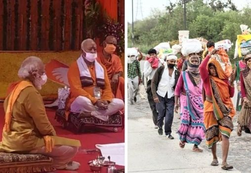 pm modi sitting during the ram mandir ceremony and a group of migrants walks back home at the beginning of the lockdown