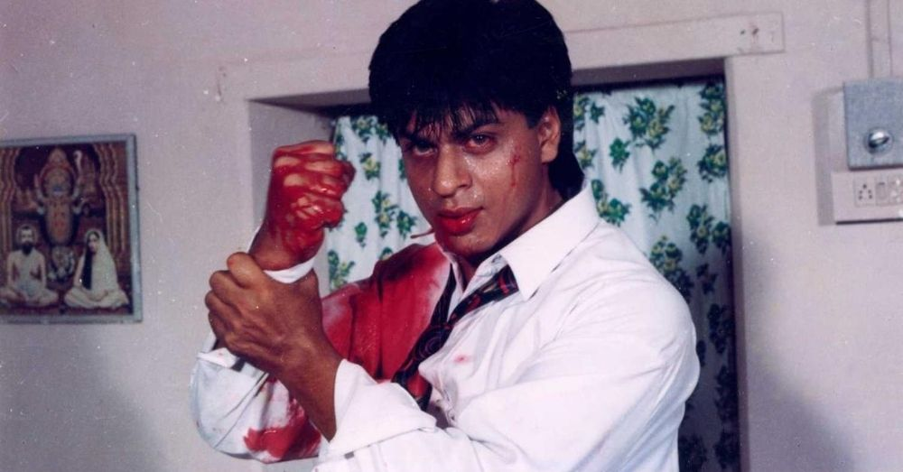 A Still from Bazigaar by Abbas Mustan where Shahrukh Khan has definitely not had period sex