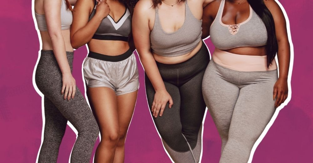 women with different body shapes and sizes posing for the camera, body positivity