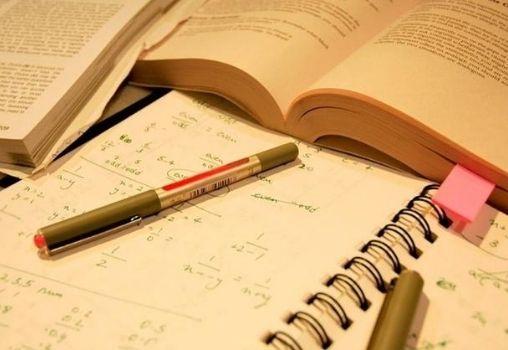 books, notebook, pen