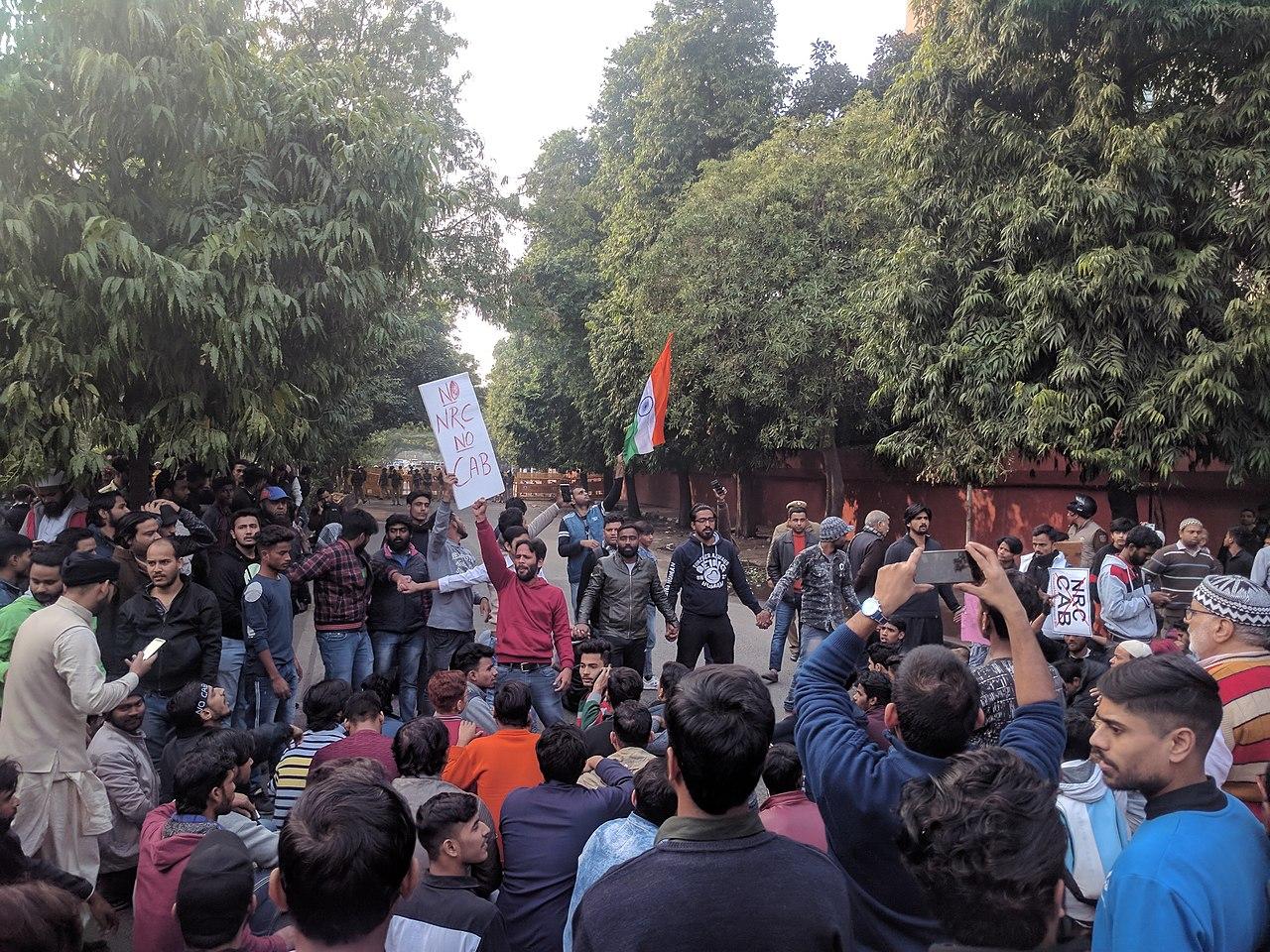 Jamia students protesting CAA-NRC