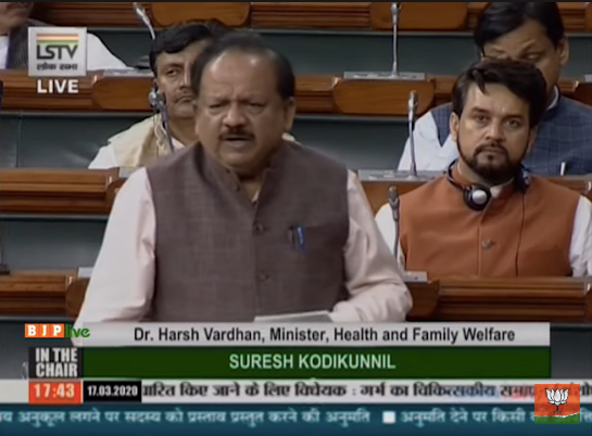 Dr Harsh Vardhan moves the Medical Termination of Pregnancy