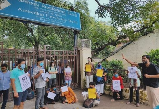 Students protesting against AUD Administration