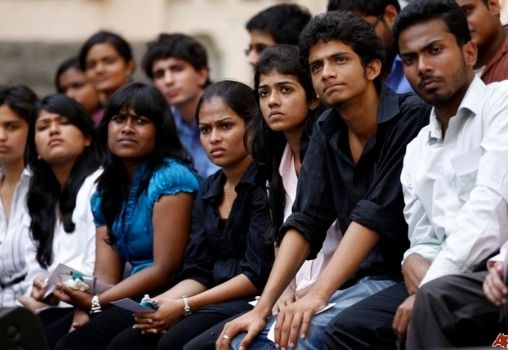 a group of college students sitting together