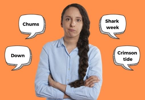 Girl looking angry at different words for periods