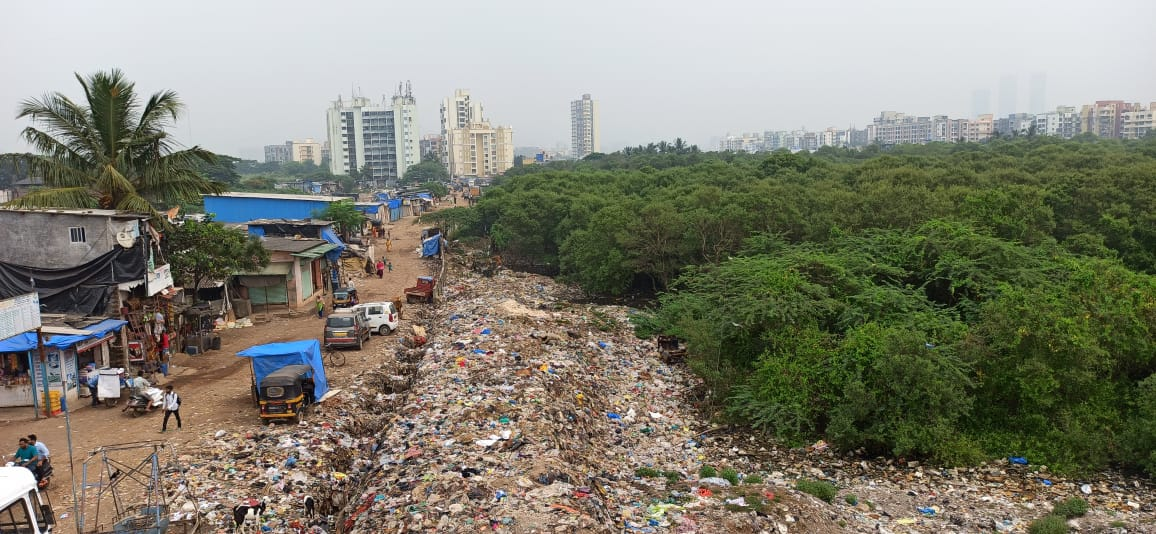 A picture of Ambujwadi's dump yard along the mangroves