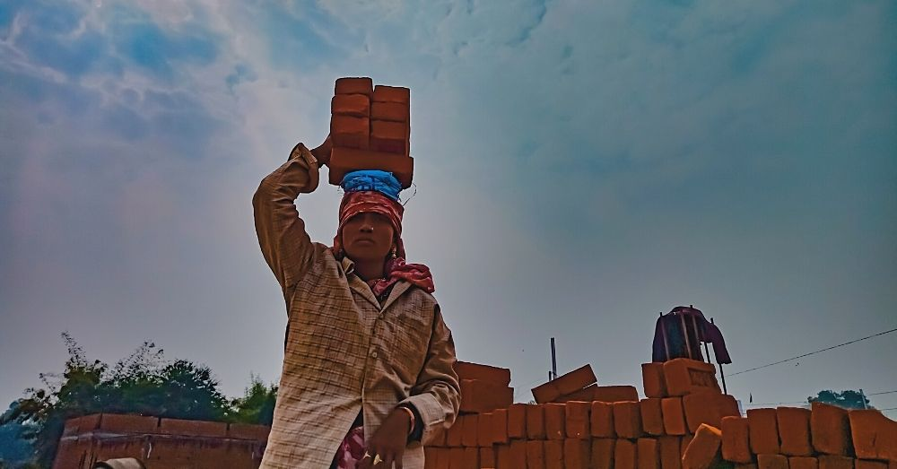 woman brick work