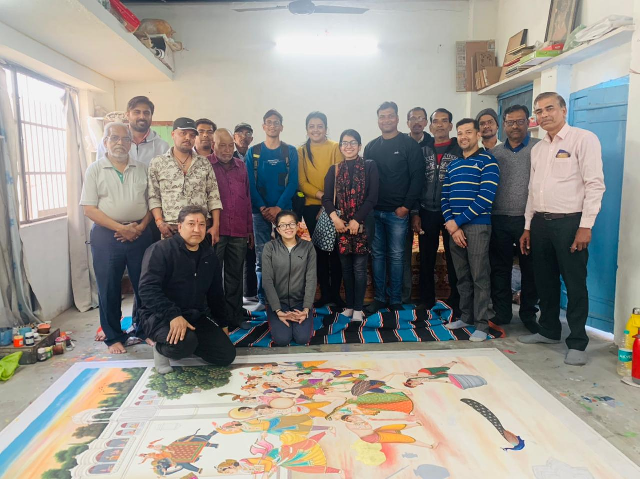 Team Enactus SRCC with the artists of Nathdwara