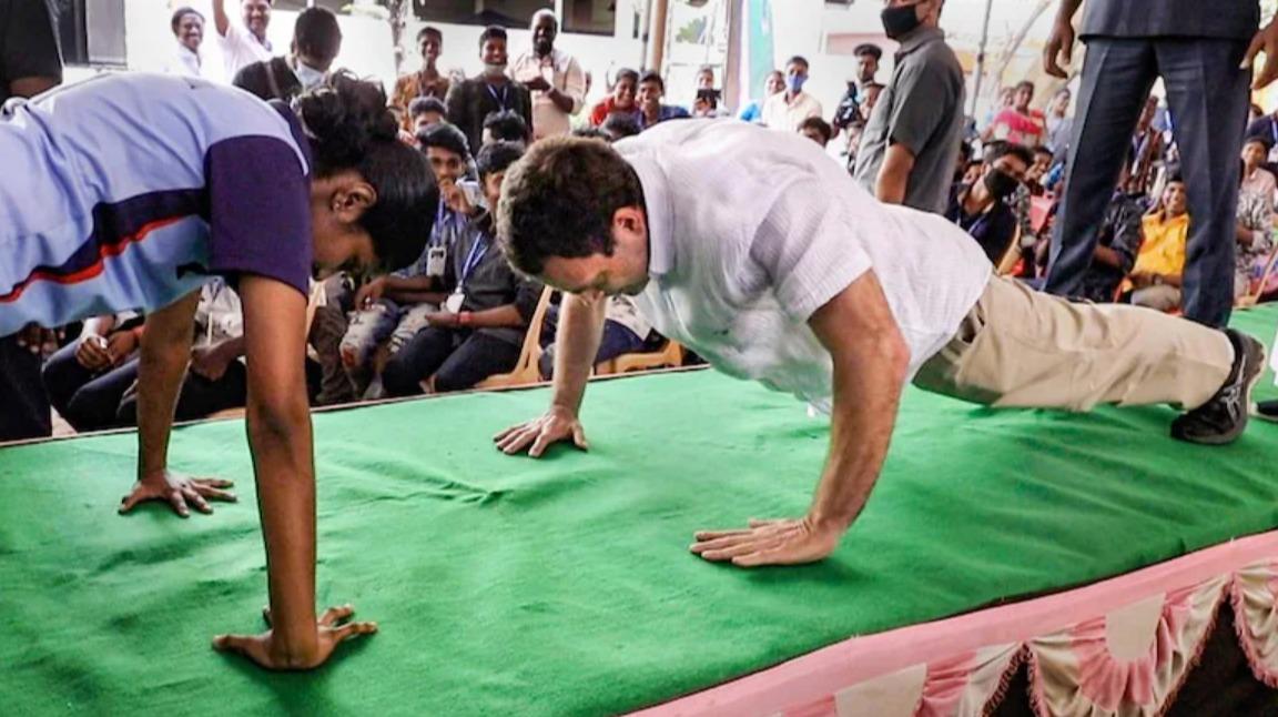 Rahul Gandhi Doing Push Ups