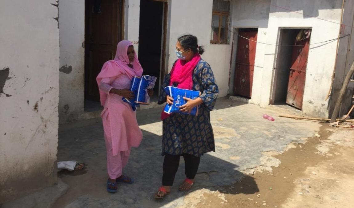 distributing sanitary products