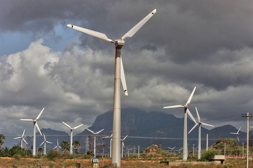 Wind turbines generate electricity in Tamil Nadu, India