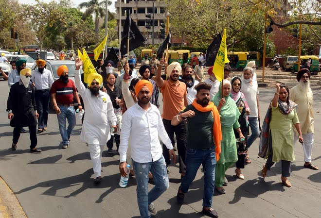Protests at Chandigarh in solidarity with farmers