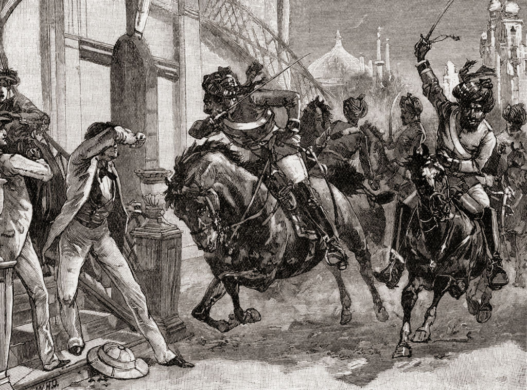 Rebel Sepoys at Delhi, India at the outbreak of the Indian Rebellion, 1857