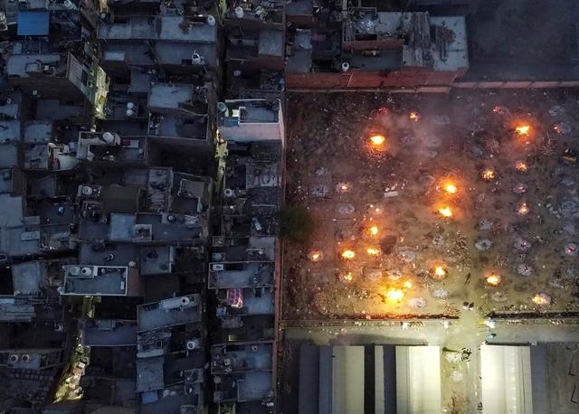 An aerial view of the cremation site in New Delhi. Source: reuters