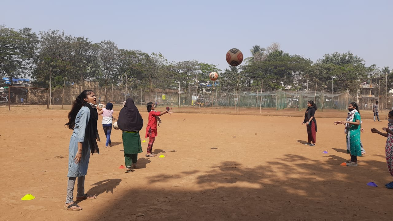 Girls playing netball in Bandra