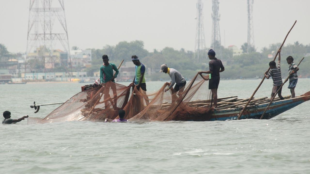 Fishermen river boat