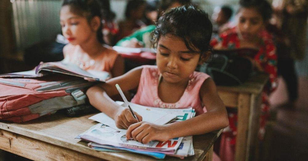 Rohingya Refugee Girl in School Classroom