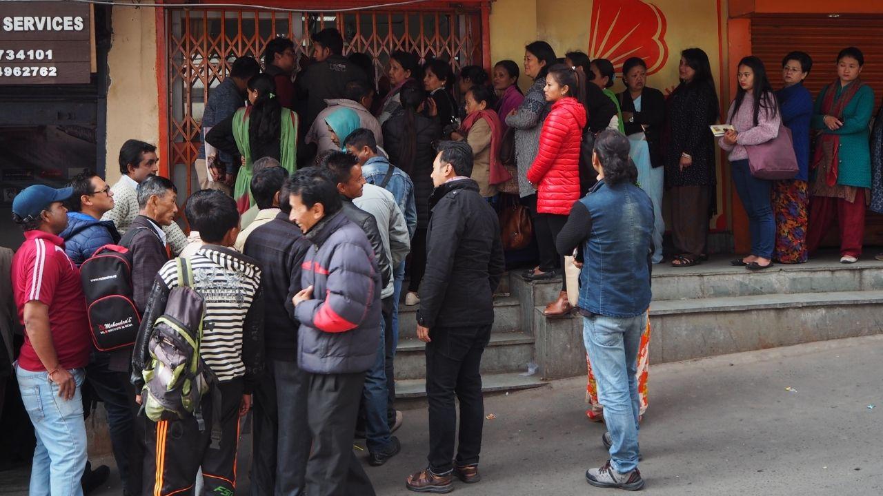 Crowd outside bank