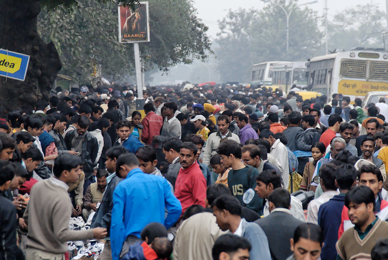 crowd at bus stand