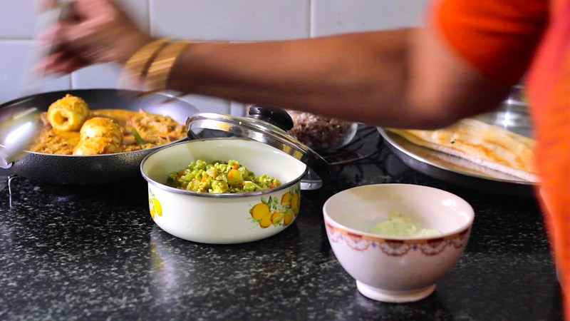 cooking food in kitchen