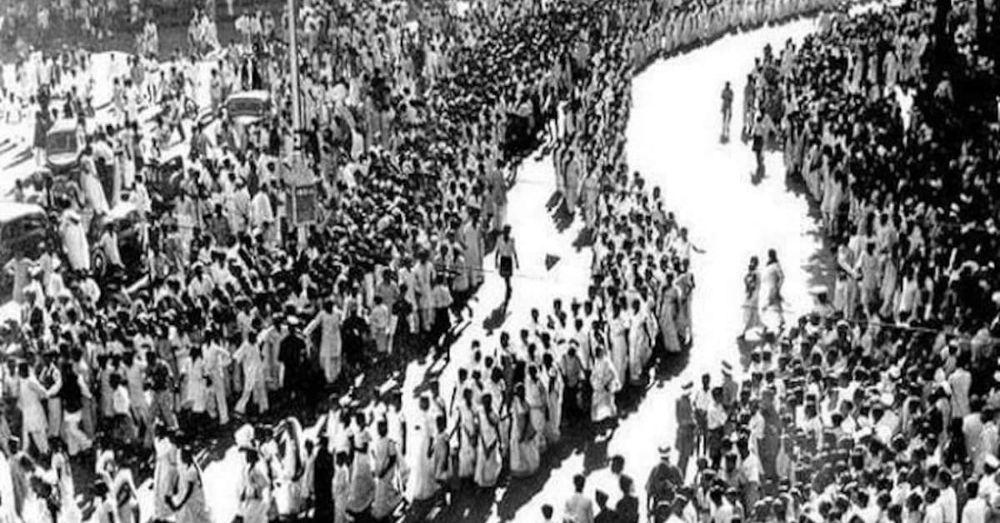 भारत छोड़ो आंदोलन का एक दृश्य