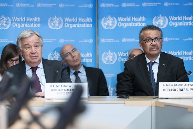 Secretary-General António Guterres with Tedros Adhanom Ghebreyesus Director-General of World Health Organization